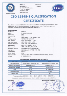 Certificate ISO15848-1 Thumb